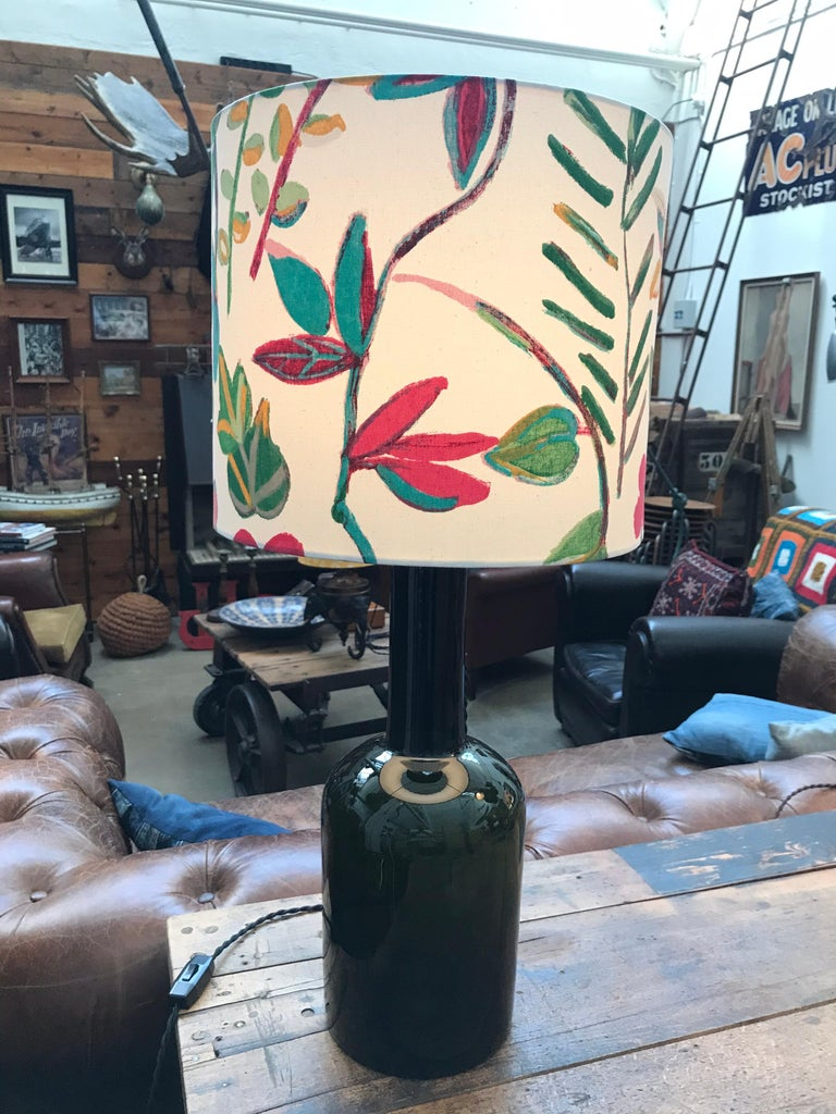 Large Vintage Otto Brauer Glass Vase Table Lamp For Sale 4
