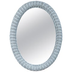 Large Vintage Oval Wicker Mirror