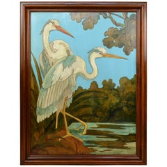 Large Blue Painting with Heron Birds on wood, 1970s