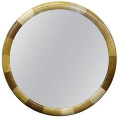 Large Vintage Patchwork Leather Framed Mirror