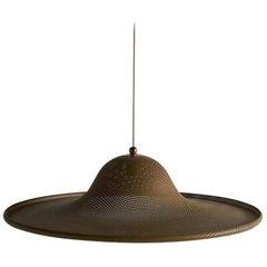Large Vintage Perforated Brass Pendant Light