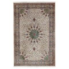 Large Vintage Persian Fine Tabriz Rug with Floral Medallion Design