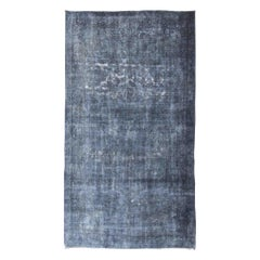 Large Vintage Persian over Dyed Gallery Rug in Shades of Dark Blue and Gray