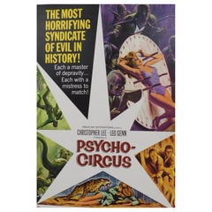 Large Vintage Psycho-Circus 1967 Original Horror B-Movie Poster Christopher Lee