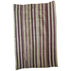 Large Vintage Purple and Brown Yoruba Stripe African Textile