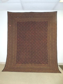 Large Red and Blue Vintage Quilted Indian Kantha King Size Blanket