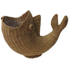 Large Vintage Rattan Artisanal Cornucopia Fish with Glass Eyes