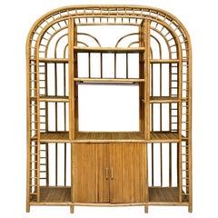 Large Vintage Rattan Étagère Bookcase