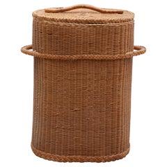 Large Vintage Rattan Wicker Storage Container Basket