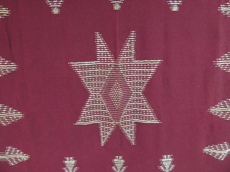 Large vintage Turkish red and natural wool handwoven blanket. Handcrafted woven wool blanket (raised pattern) depicting human figures, trees and a large star in the center. Excellent conditions. Size: 80