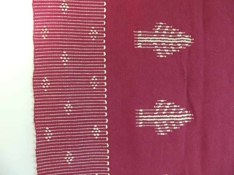 Moorish Large Vintage Red and Natural Wool Handwoven Blanket For Sale