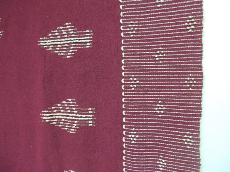 Turkish Large Vintage Red and Natural Wool Handwoven Blanket For Sale