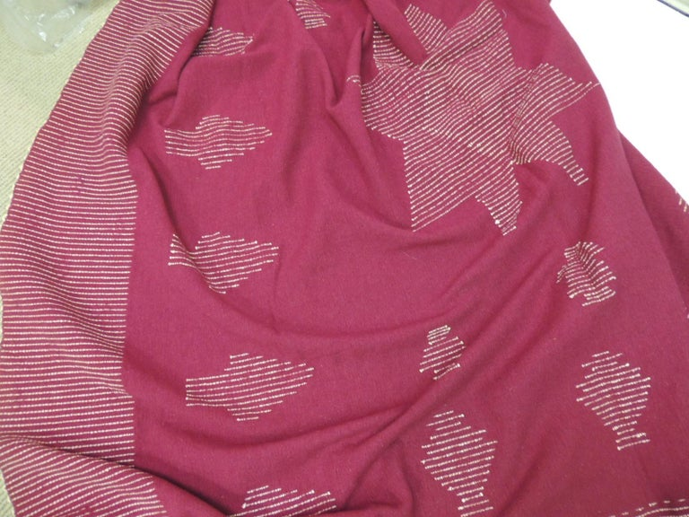 Late 20th Century Large Vintage Red and Natural Wool Handwoven Blanket For Sale