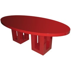 Large Vintage Red Lacquer Oval Dinning Table by Francois Champsaur, France 1990s
