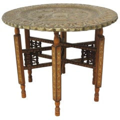 Large Vintage Repoussse Indian Decorative Round Tray Side Table with Wood Stand