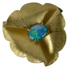 Large Vintage Retro 14 Carat Gold and Opal Triplet Flower Brooch