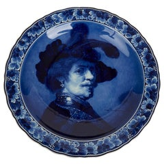 Large Vintage Royal Blue and White Delft Plaque Male after Rembrandt, 1927