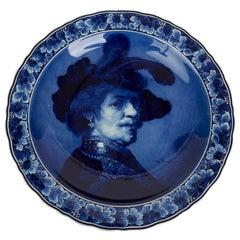Large Vintage Royal Blue and White Delft Plaque Male after Rembrandt, 1927