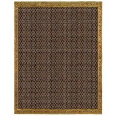 Large Vintage Samarkand Geometric Dark Blue 'Size Adjusted' Wool and Silk Rug