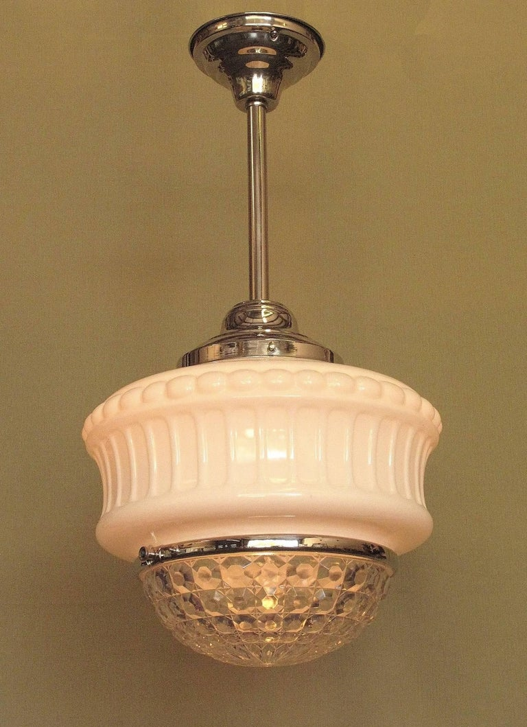 American Large Vintage Schoolhouse Fixture, circa 1920s For Sale