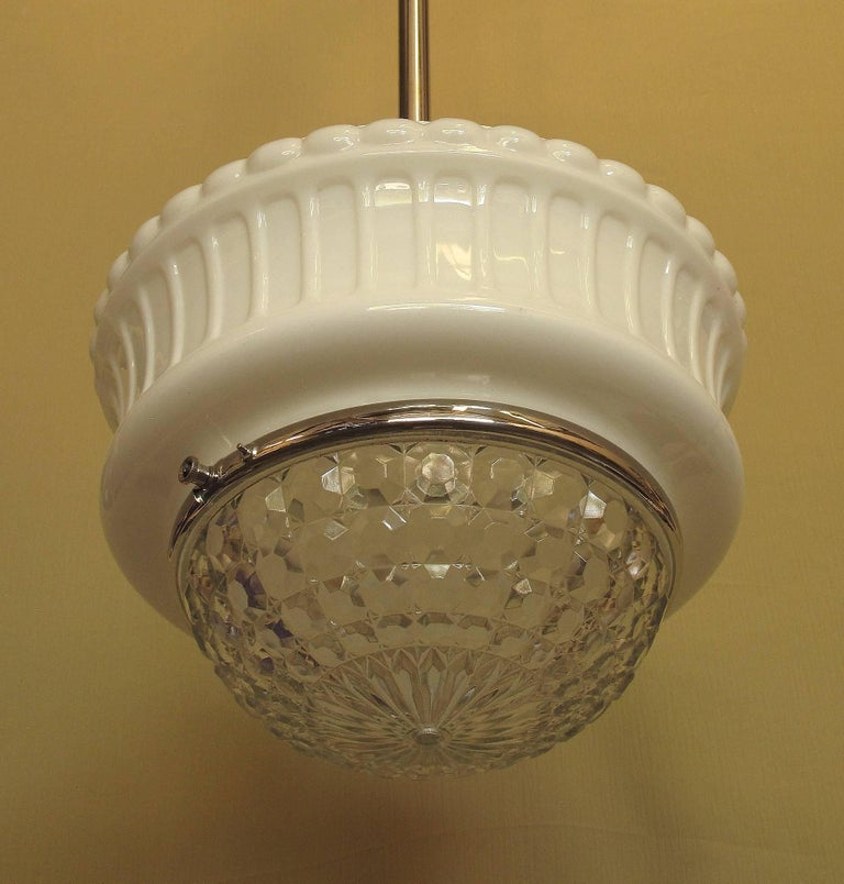 Plated Large Vintage Schoolhouse Fixture, circa 1920s For Sale