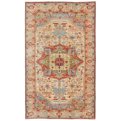 Very Large Serapi Persian Rug with Medallion on a Cream Background