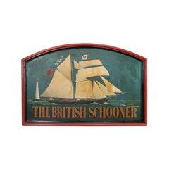 Large Vintage Ship Pub Sign, English, Pine, Bar, Billboard, Maritime, circa 1950