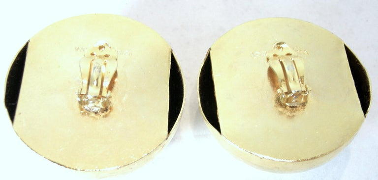 Large Vintage Signed Victor Carranza Ball Earrings In Good Condition For Sale In New York, NY