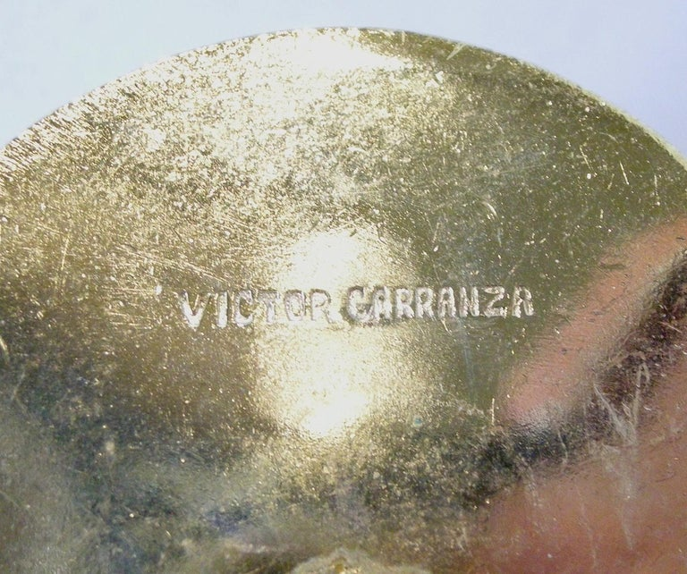 Women's Large Vintage Signed Victor Carranza Ball Earrings For Sale