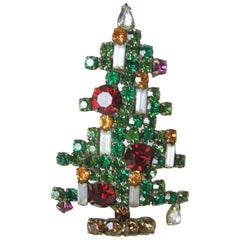 Large Vintage Signed Weiss Christmas Tree Brooch