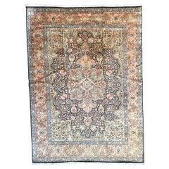 Large Vintage Silk Kashmir Rug