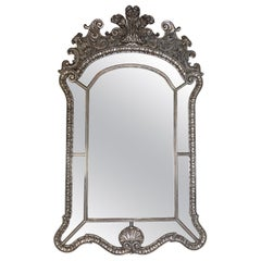 Large Vintage Silver Gilt Carved Venetian Style Wood Mirror