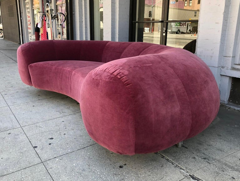 Vintage Sofa in a Burgundy Fabric For Sale at 1stdibs