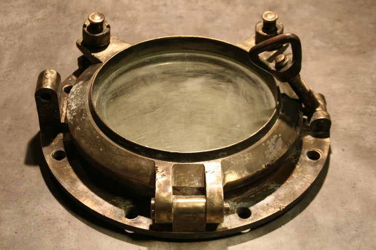 Large Vintage Solid Brass Ship's Porthole For Sale 9