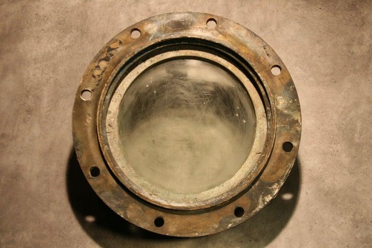 Large Vintage Solid Brass Ship's Porthole For Sale 1