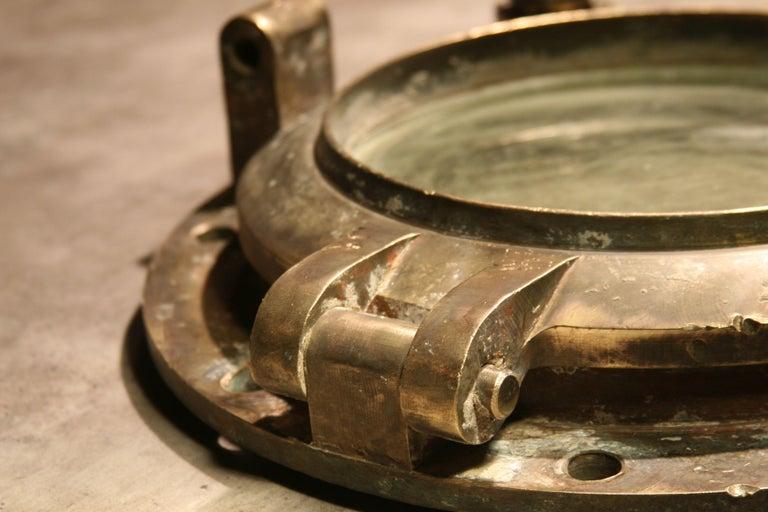 Large Vintage Solid Brass Ship's Porthole For Sale 2