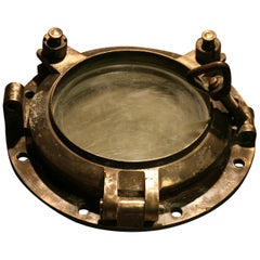 Large Vintage Solid Brass Ship's Porthole