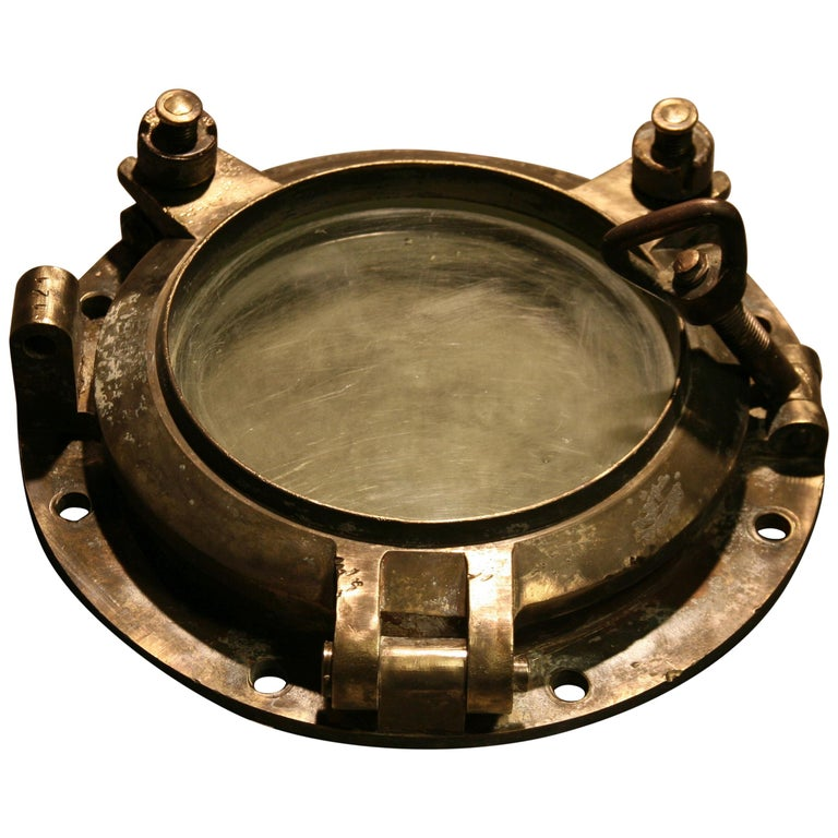 Large Vintage Solid Brass Ship's Porthole For Sale