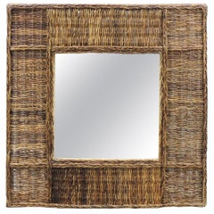 Large Vintage Square Abaca Woven Wall Mirror