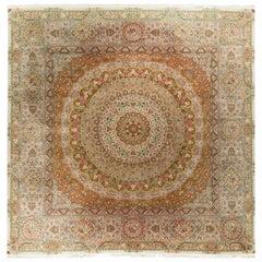 Large Vintage Square Persian Tabriz Rug Carpet