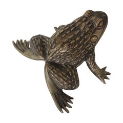 Large Vintage Sterling Silver Plated Frog