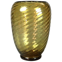 Large Vintage Steuben Art Glass Large Amber Swirl Vase, 20th Century