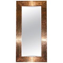 Large Vintage Style Distressed Copper Frame Mirror Bevelled Edge