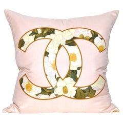 Large Vintage Sugared Almond Pink Floral Chanel Silk Scarf Irish Linen Cushion