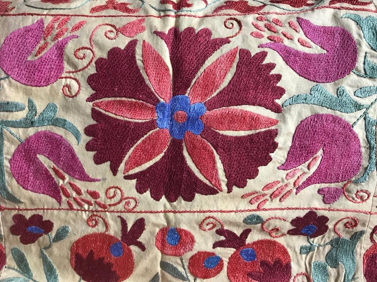 Uzbek Large Vintage Suzani Hand Embroidered Blanket Silk on Cotton For Sale