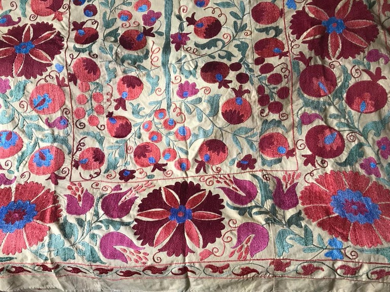 Large Vintage Suzani Hand Embroidered Blanket Silk on Cotton In Good Condition For Sale In NEW YORK, NY