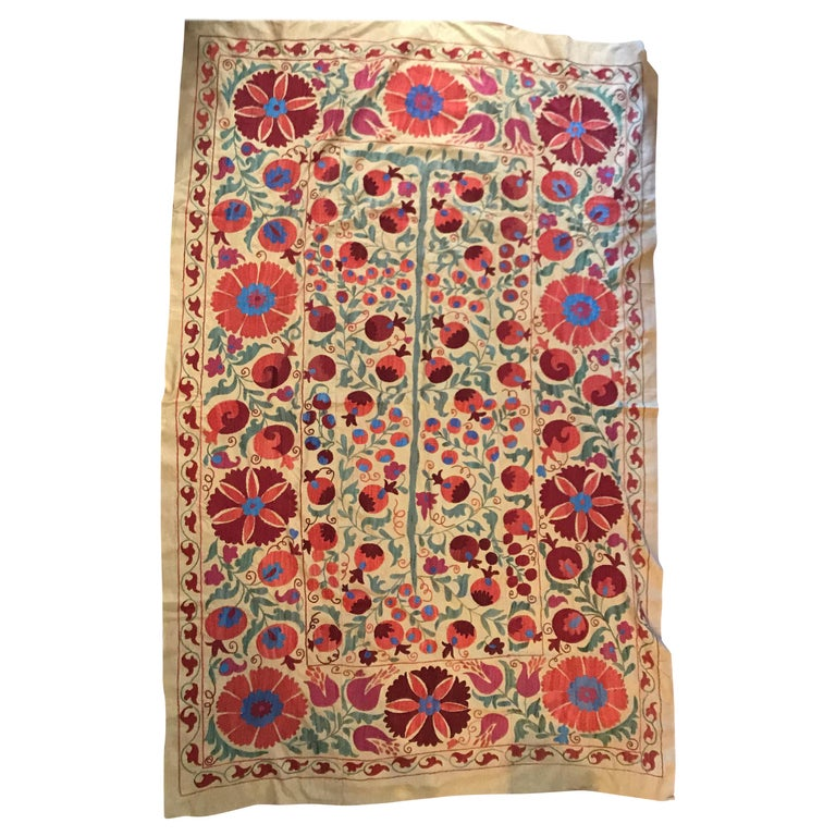 Large Vintage Suzani Hand Embroidered Blanket Silk on Cotton For Sale