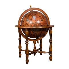 Large Vintage Terrestrial Globe, Continental, Beech, Rotating, Late 20th.C, 1970