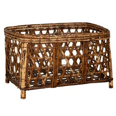 Large Vintage Thai Bamboo Fretwork Basket Raised on Short Feet, circa 1950
