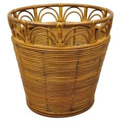 Large Vintage Tiki Beach Boho Chic Regency Wicker Rattan Bamboo Quilt Basket